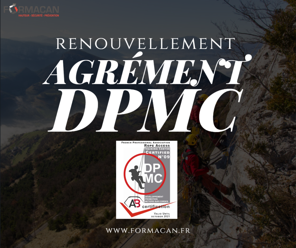 CQP Cordiste : renouvellement de notre Agrément DPMC