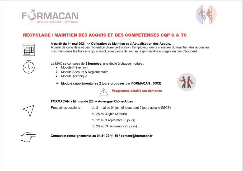 Recyclage / MAC CQP C et CQP TC